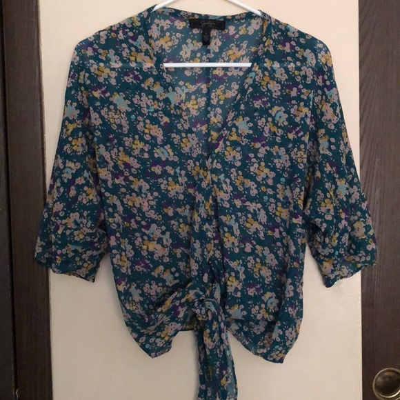 Jessica Simpson Tops - Large, Jessica Simpson sheer tie front blouse
